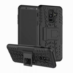 ab2604b474 Samsung Galaxy A6 Plus (2018) Hybrid TPU Armor Silicone Rubber Hard Back  Impact Stand case Cover Black
