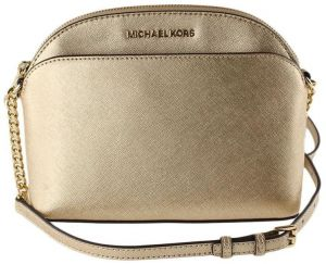 4c9b25843c39 Michael Kors Emmy Pale Gold Leather Chain Cross Body Bag Small Handbag