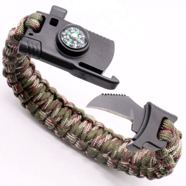 Outdoor Survival Bracelet with Blade Camping Emergency Hand Rope Umbrella Rope