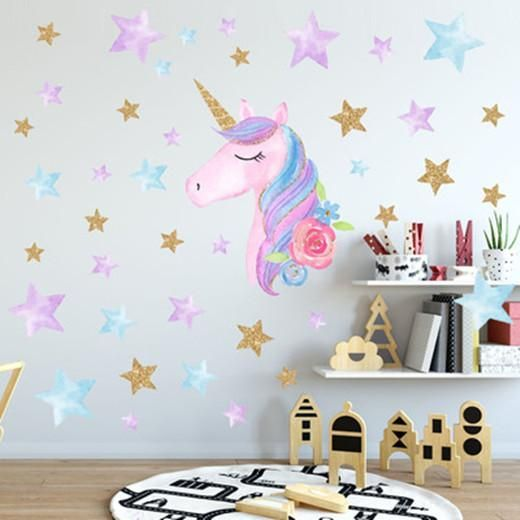 60x36cm Unicorn Nursery Wall Decal Boys Personalized Name Sticker Custom Sign Stencil Monogram S