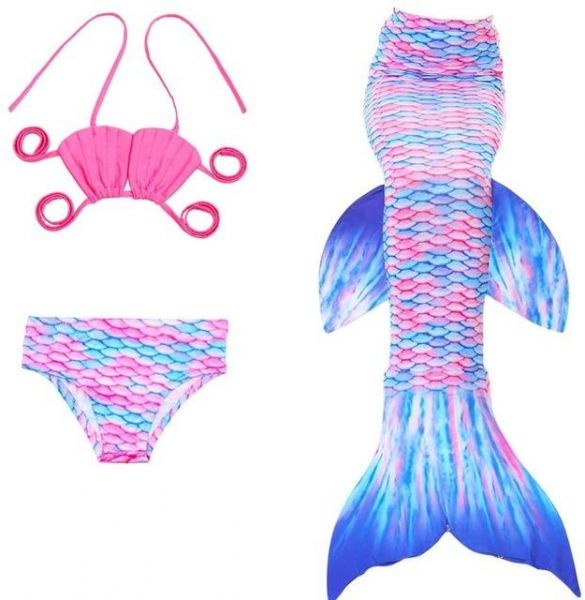 275f34c2afa3 3pcs Girls Mermaid Tail For Swimming Costume Mermaid 3 piece Bikinis  Bathing Set Tops Bottoms Children Summer Swimming Dress