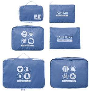 6-Piece Packing Cube Set - Travel Organizers with Toiletry Bag - Blue