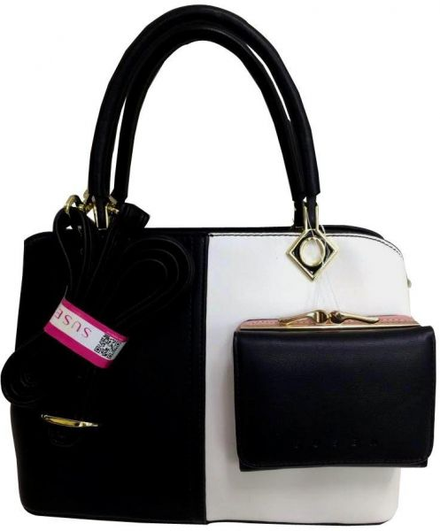 Susen Black And White Leather Hand Bag With Removable Long Strap