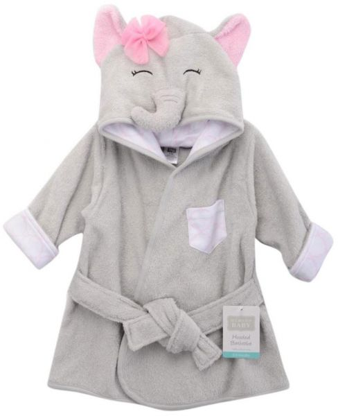 Hudson Baby - Animal Face Hooded Bath Robe - Girl Elephant  049396339