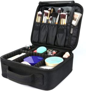 abdd4d17e Travel Makeup Bag,Portable Travel Makeup Cosmetic Case Organizer Artist  Storage Bag with Adjustable Dividers for Cosmetics Makeup Brushes Toiletry  Jewelry ...