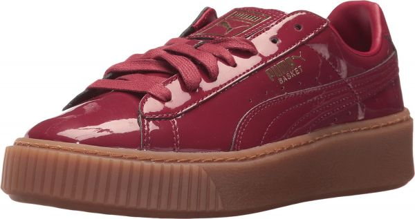 fc528309a22 Puma Basket Platform Patent Fashion Sneakers for Women - Red