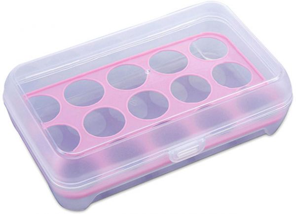 Pink Eggs Dispenser  Kitchen Egg Tray 15 Eggs Egg Storage Holder Egg Box Carrier Container with Lid