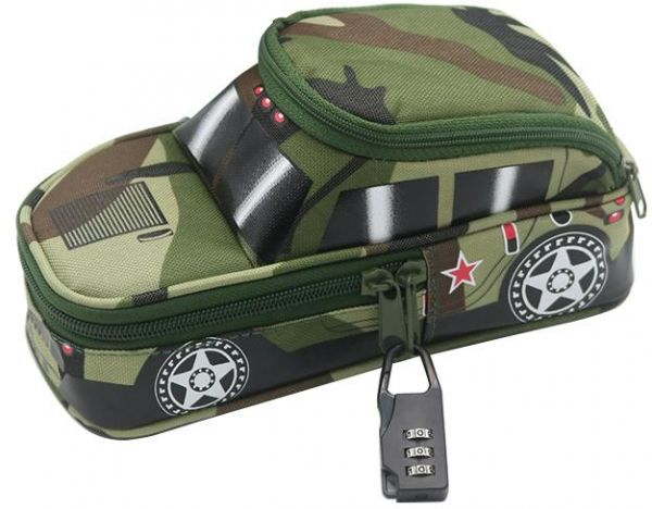 Pencil Case Army Off-Road Car Pen Punch with Lock Camouflage, Middle/High School Students Stationery Organizer Zipper Bags for Kids Children Boys Girls
