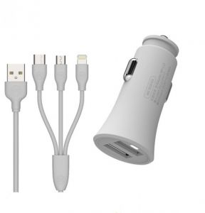 15c6d182add Car Charger for Samsung iPhone iPad LG Huawei HTC Xiaomi, Quick Charge QC  2.4A+2.4A Two USB Ports with Fast Charging 3-in-1 Cable For iPhone, Micro,  ...