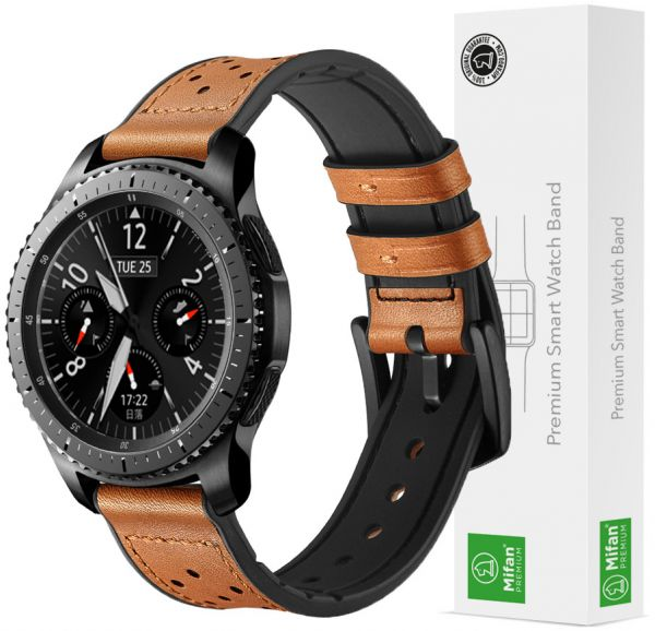 1fb80452e4f Samsung Gear S3 Watch Band 22mm Mifan Strap Replacement Premium Hybrid Dot  Design Soft Silicone Leather Sports Wristband Bracelet Brown with Black  Clasp ...