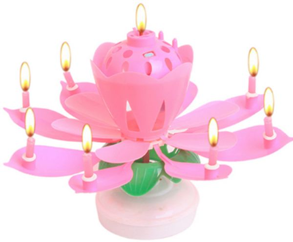Art Musical Candle Lotus Flower Happy Birthday Party Gift Rotating Lights Decoration 8 14 Candles Lamp