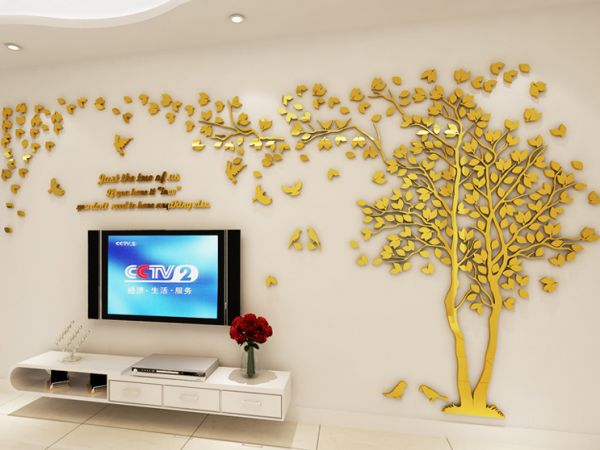 small size golden tree acrylic decorative 3d wall sticker diy art tv
