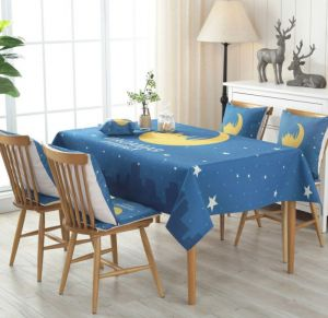 Moroccan Tablecloth With Star And Moon Art Arabic Words Ramadan Design  Dining Room Kitchen Rectangular Table Cover 100 X 140 Cm