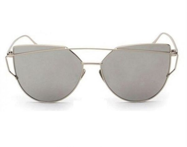2550777832d Mirrored Cat Eye Fashion Sunglasses Simple Designer Style Silver Frame  Silver Lens