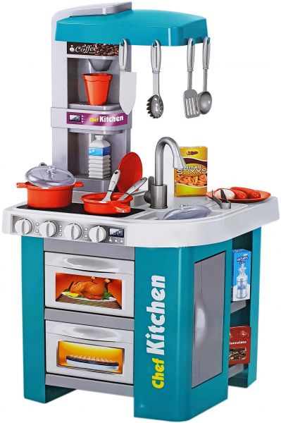 Buy Talented chef Kitchen Set Role Play Sink with Running Water Stove with Fire Light And Sound Playset in Saudi Arabia