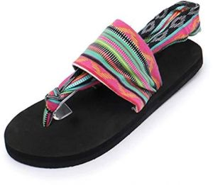 7c98a4fd5 Women s Bohemia Stripe Cloth Flat Flip-Flop Thongs Slip on Comfy Walking  Sandals for Beach