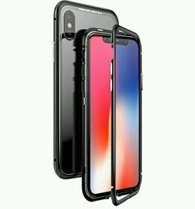 Apple IPhone X cover/case, magnet with aluminium metal housing bumper case clear 9H tempered glass back case, black