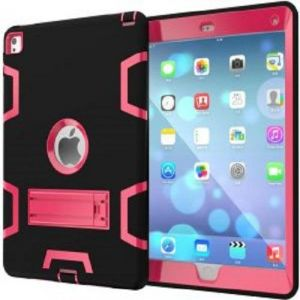 Anti Finger Print Mixed Protective Shell/Skin Shockproof Heavy Duty Hard Case Cover with Kick-stand For Apple iPad Mini 4 7.9 Inch Black and Pink (Awdsales)