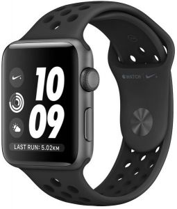 fc96e85e98790 Apple Series 3 Nike + GPS + Cellular Black Strap Smart Watch - MQM82AE A