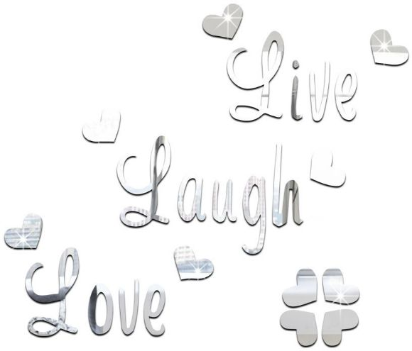 Live Love Laugh Quote Wall Sticker Quotes Acrylic Reflective Sticker