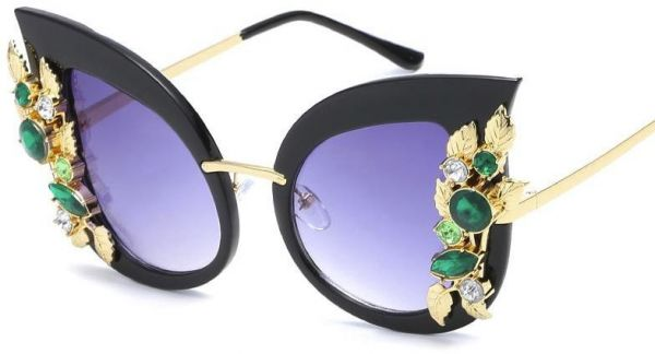 4aba3cd81d8 Fashion Vintage Cat Eye Sunglasses Women Metal Swarovski Elements Crystal  Diamond Sun Glasses