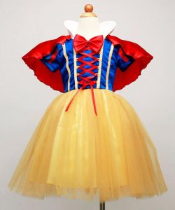 Girls Snow White Costume Cosplay Kids Girl Princess Party Dresses with Cape  Short Sleeve Dress with Bow Children Cartoon Clothes 0a91265a93cd