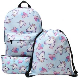 b22ff1d4e938e 3PCS  set Women Printed Unicorn Backpack School Bags For Teenage Girls  Shoulder Drawstring Bags Travel Students Polyester Cute Women Girl School  Shoulder ...
