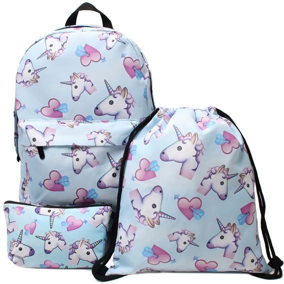 3PCS  set Women Printed Unicorn Backpack School Bags For Teenage Girls  Shoulder Drawstring Bags Travel Students Polyester Cute Women Girl School  Shoulder ... 379ea462c8645