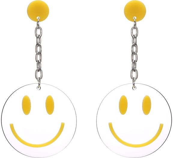 Exaggerated Long Chain Acrylic Geometry Smiley Emoji Expression Pendant Earrings For Girls Birthday Gifts