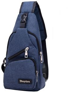 6380be0142 Aelicy Usb Canvas Chest Bags Unisex Boston Bag Fashion Men's Polyester  Sling Bag Chest Pack Crossbody Bag with USB Charging
