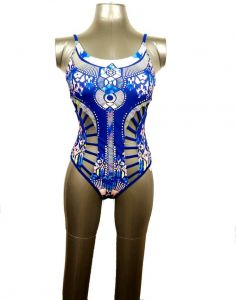 61e677f1a85 Women Bohemian Pattern Hollow Out Padded One Piece Swimsuit Swimwear-Blue  Size M