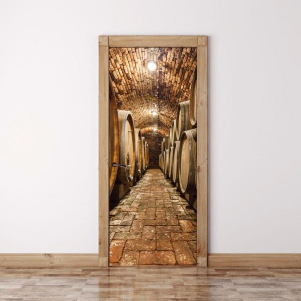 3d Oak Barrels In Wine Cellar Door Sticker Self Adhesive Home