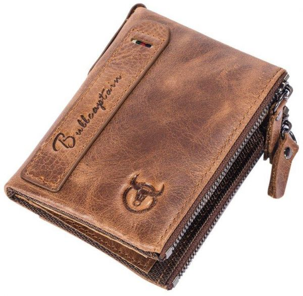 Cow Leather Men Male Waist Bag Business Travel Credit Cards Money