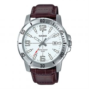 308b38caf571 Casio Men s Off White Dial Leather Band Watch - MTP-VD01L-7BVUDF