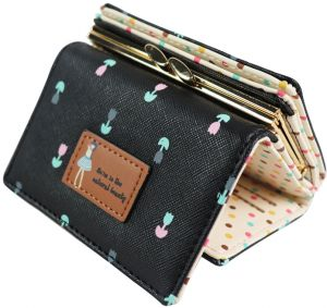8cb5669f9691 Women Girls Trifold Short Small Coin Purse Lovely PU Leather Girls Wallet  Female Coin Wallets Card Holder- Black-QB53-5