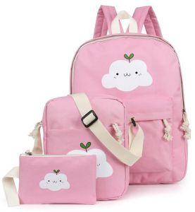 3PCS SET Cloud Printing School Backpack Teenage Girl Boy Outdoor Satchel  Shoulder Bag Crossbody Bag Pencil Case 5b3174018d49c