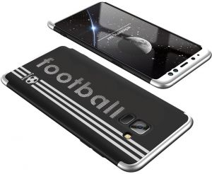 Samsung Galaxy A8 Plus case, Fashion ultra Slim Gkk 360 Football 3d printed Full Protection cover Case - Black & Silver