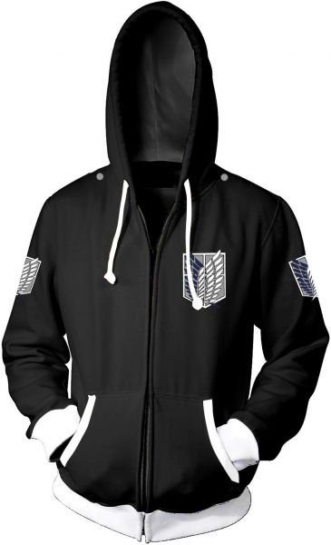 Men's hoodie Attack on Titan Scout Regiment anime fans collaborative content creation clothes black | Souq - UAE