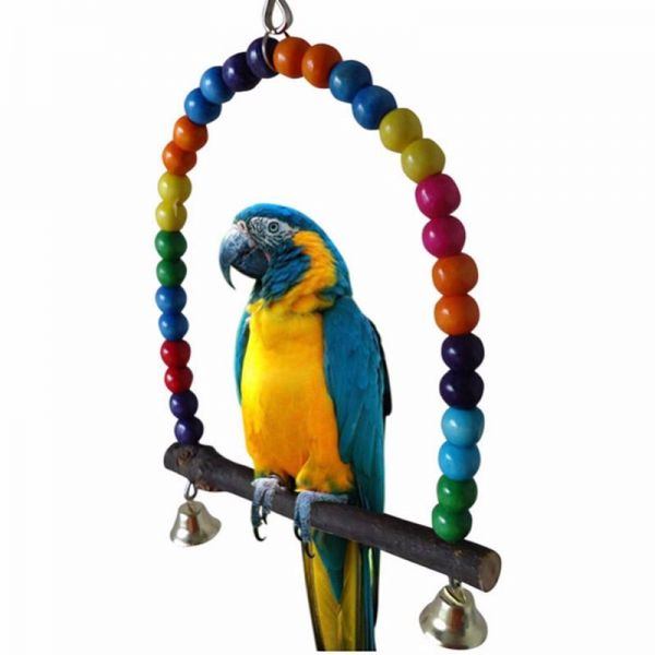 Wooden Pet Bird Parrot Toys 15/30cm Colorful Arch Bridge Swing Bell Toy Pet Products Accessories for Parrots