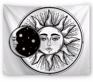 Black White Moon And Sun With Face Tapestry Mandala Hippie Bohemian