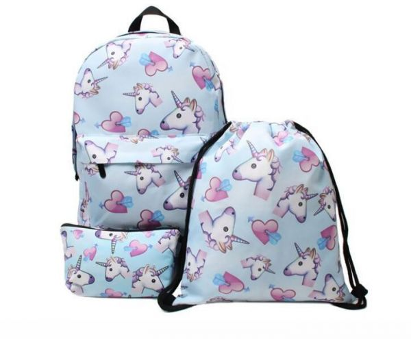 Unicorn Animal Backpack 3pcs set Women Printed Unicorn Backpack School Bags  For Teenage Girls Shoulder Drawstring Bags d3c4ceeb37437