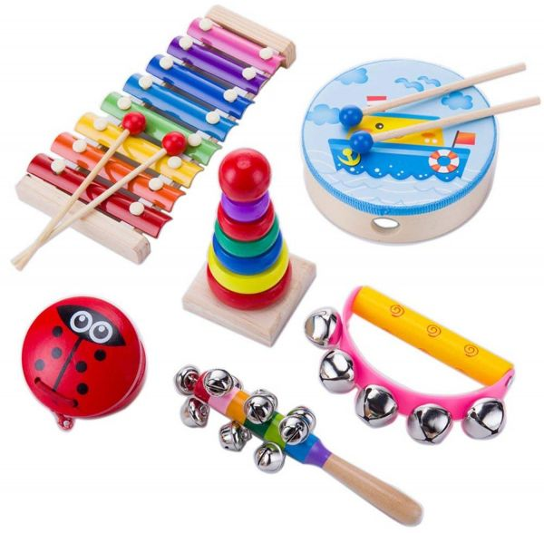 Kids Musical Instruments Set 8 Types 14pcs Wooden Percussion