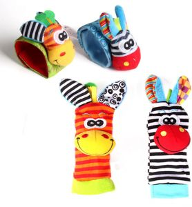 Sozzy Cartoon 4 piece Zebra New Baby Infant Soft Socks Wrist Rattle Set  Educational Best Newborn Gift Toys for Children Boy Girl a3de053a7