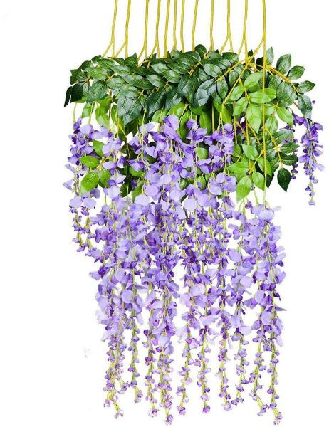 12Pcs Artificial Hanging Flower for Wedding Decor, Silk Wisteria Vine Ratta Garland String for Home Party, Purple | Souq - UAE