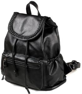 Fashionable women s double shoulder bag leisure pu soft leather  backpackadjustable shoulder straps large capacity black students Simple  schoolbag male ... aee7ad14bbbab