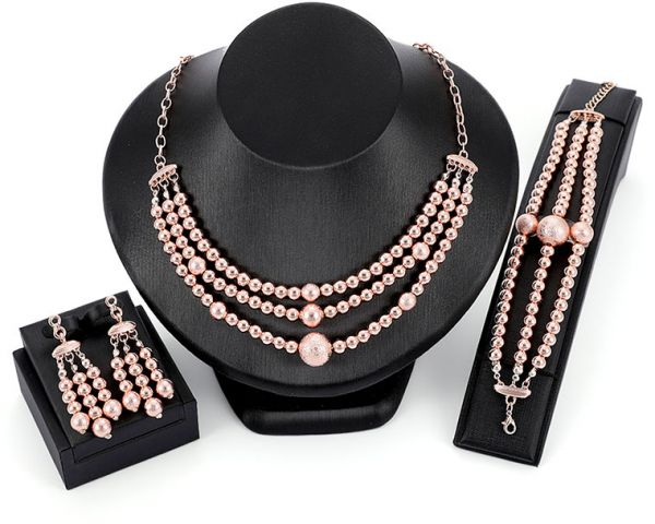 Fashion with pink round beads Rhinestone Crystal Pendant Necklaces, Exaggerated Pearl Necklace Bracelets ringsJewelry Gifts set for Women Girls