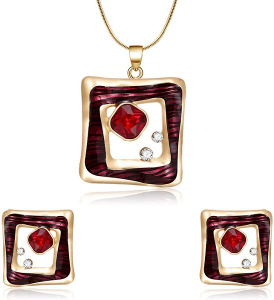 National women Clavicle chain necklace pendant ornaments Necklace and Earrings Jewelry Set gold quadrilateral