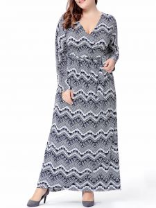 2bf79970086 Buy women plus size collar neck floral printed decorated maxi dress ...