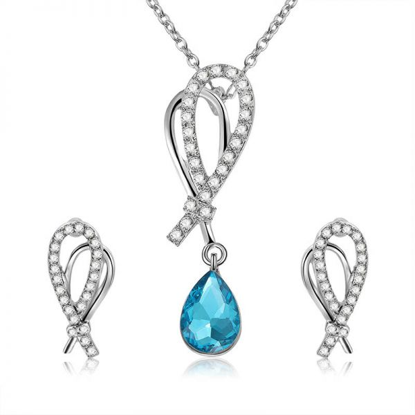 Rhinestone Jewelry Sets Fashion blue rhinestone Necklace Earrings Wedding Party Accessories For Women
