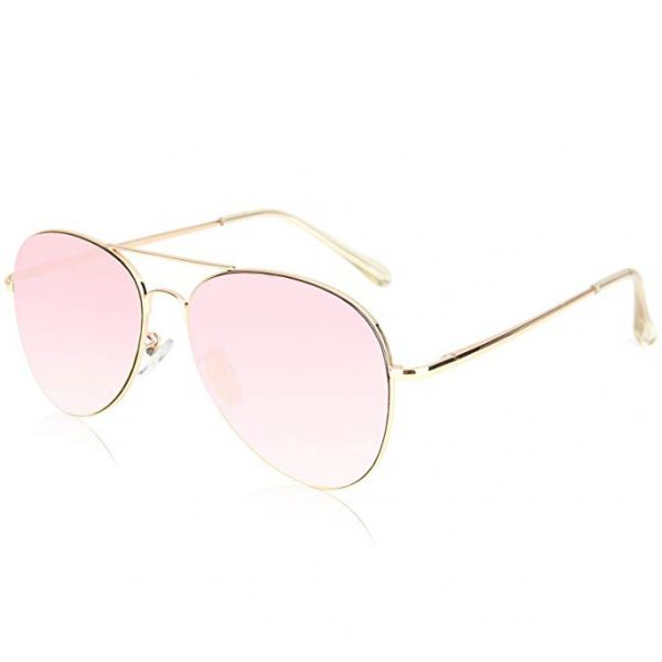 602b41f255 SOJOS Classic Aviator Mirrored Flat Lens Sunglasses Metal Frame with Spring  Hinges - Pink Lens